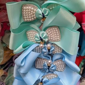 Hair bow with faux Pearl bow, each
